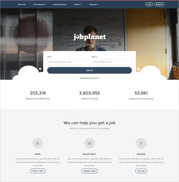 jobplanet responsive job board wordpress themes