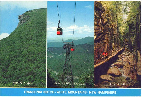unused 6 x 9 inch 3 pic postcard of franconia notch white mountains new hampshire postcard