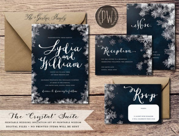 snowflake winter wedding invitation