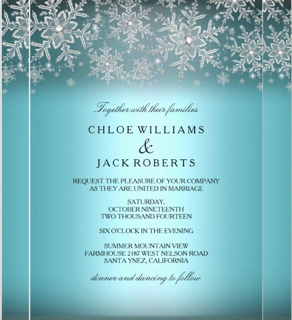 Crystal Snowflake Blue Winter Wedding Invitation