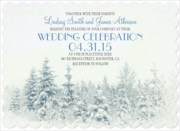 white winter wedding invitation