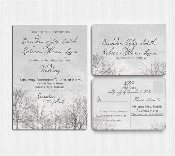 grey winter wedding invitation