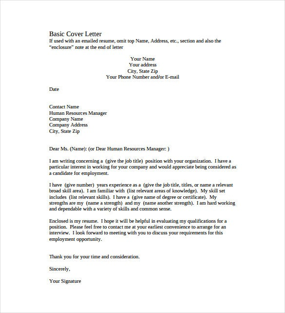 Perfect Simple Basic Cover Letter PDF Format Template Free Download  Free Simple Cover Letter Examples