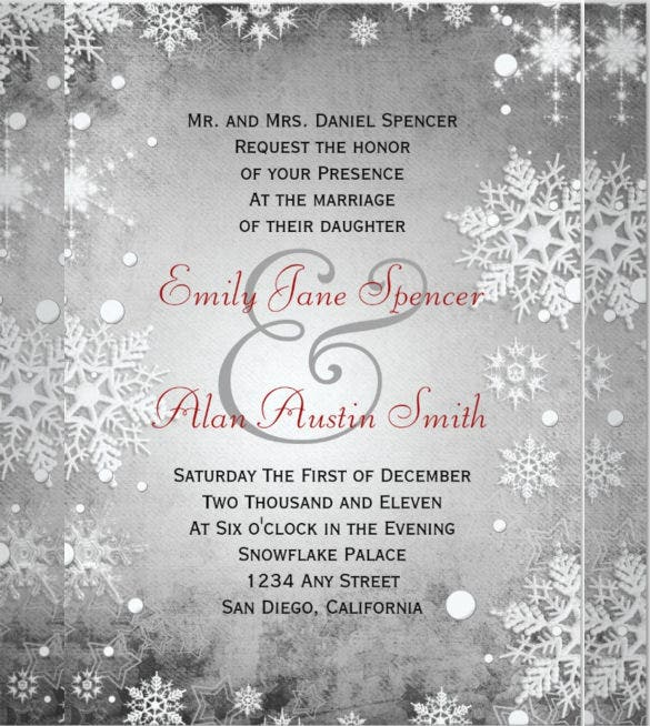 Winter Wedding Invitation Templates Free Sample Example - Wedding invitation templates: silver wedding invitations templates