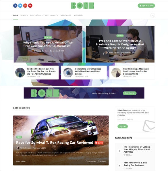 bone modern publication wordpress theme