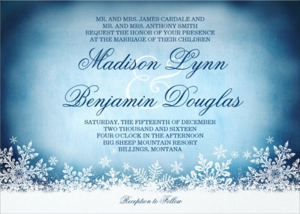 14 winter wedding invitation templates sample example format winter snowflakes blue holiday winter wedding invitation maxwellsz