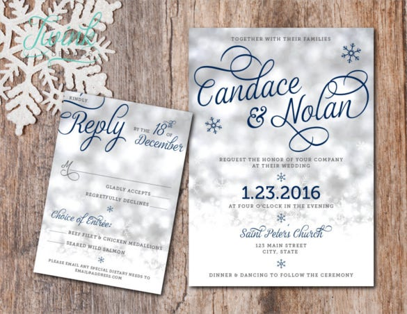 beautiful winter wedding invitation