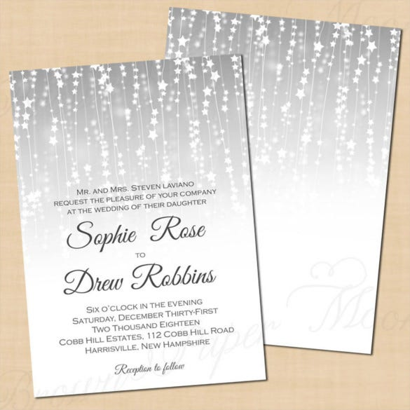 silver star streamers winter wedding invitation