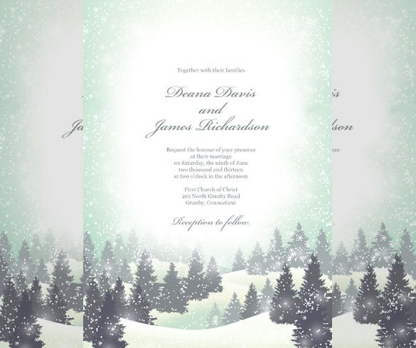 winter wonderland winter wedding invitation free download