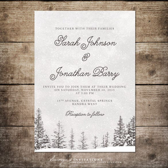 14 Winter Wedding Invitation Templates Sample Example