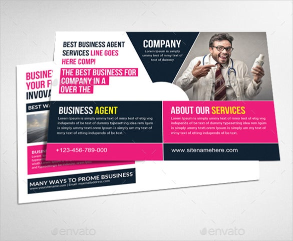 pink colour business postcard template