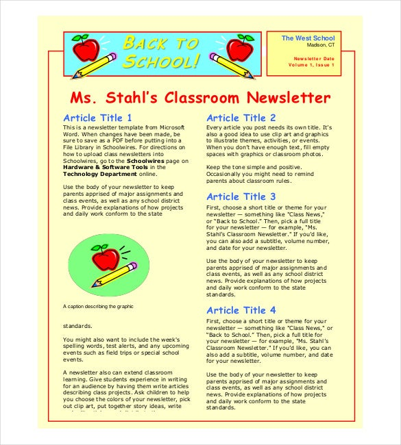 Classroom Newsletter Template – 9+ Free Word, Pdf Documents