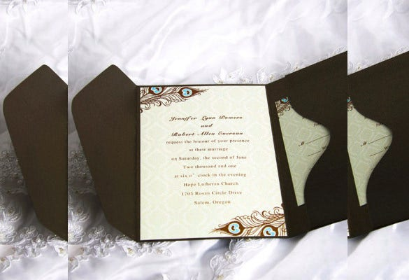 peacock wedding pocket invitation