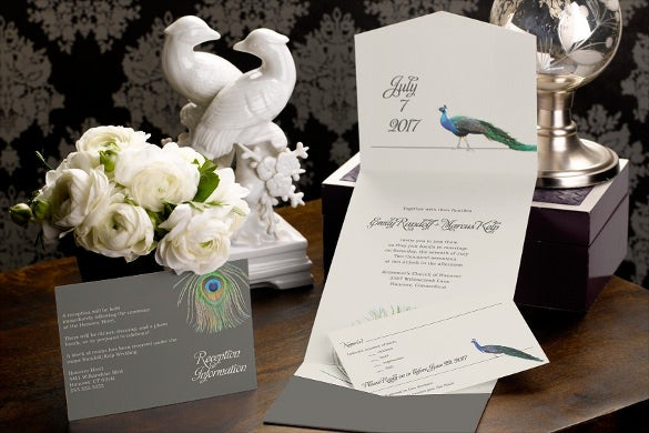 Peacock wedding invitation 15 psd jpg indesign format download unique pocket wedding invitation stopboris Choice Image