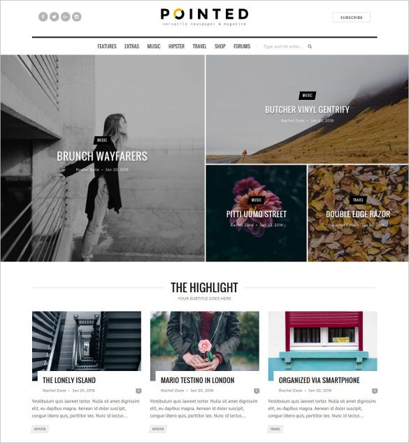 pointed versatile blog news wordpress theme