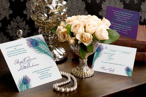 wedding invitation with coordinating enclosure