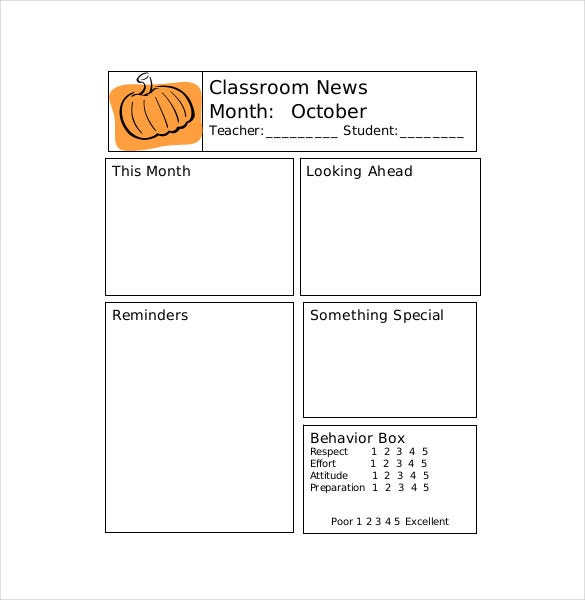 Classroom Newsletter Templates Free Sample Example Format - Free newsletter templates for teachers