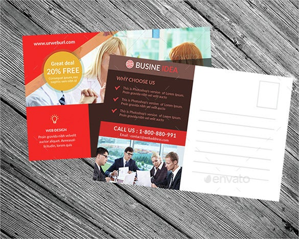 colourful creative business postcard
