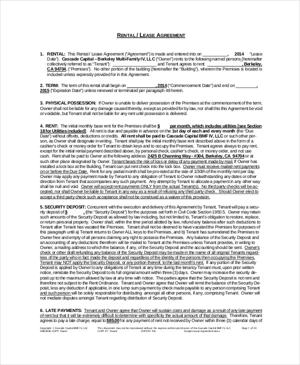 Rental Agreement Template 11 Free Word Pdf Documents Download