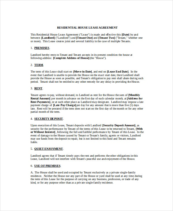 Rental agreement template 11 free word pdf documents for Housing lease template