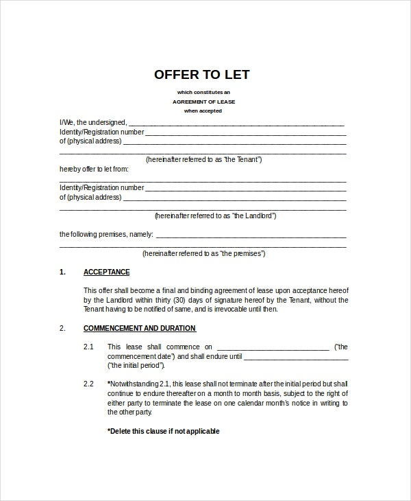 Rental Lease Agreement Template  Free Lease Agreements Templates