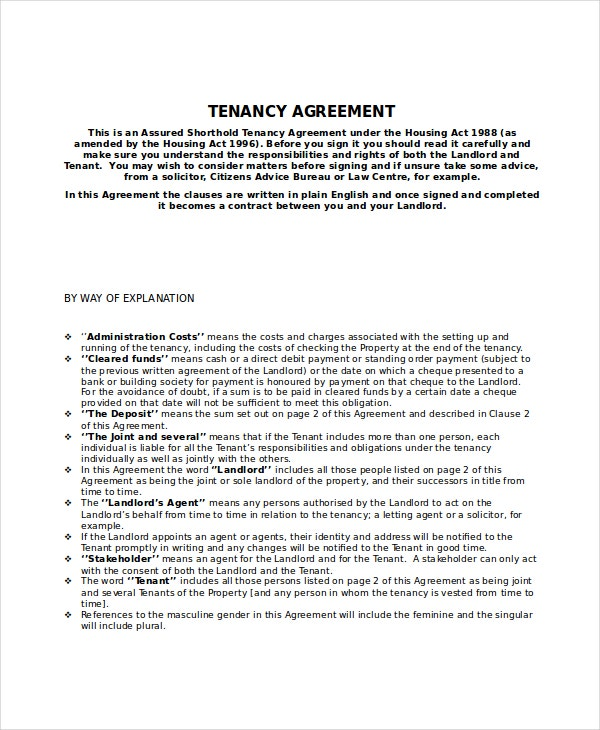 tenant rental agreement template