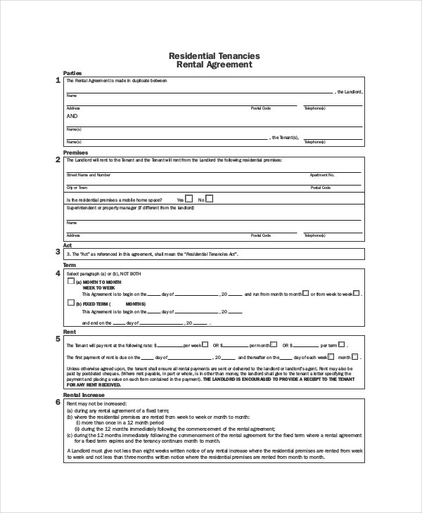 rental contract agreement template