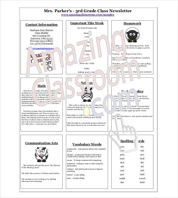 3 rd grade class newslettertemplate