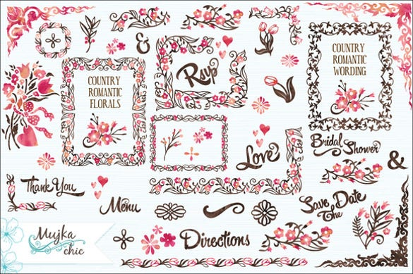country wedding invitation florals