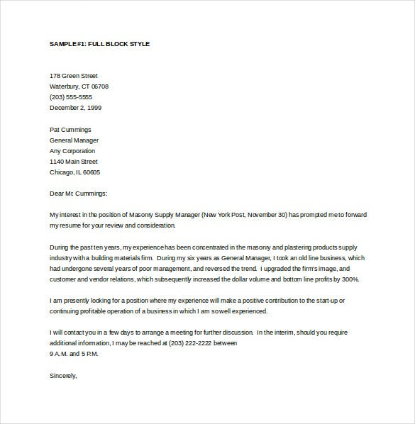 general manager cover letter sample word template free download - Manager Cover Letter Sample