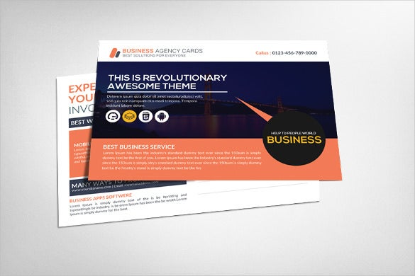 corporate business agency postcard template