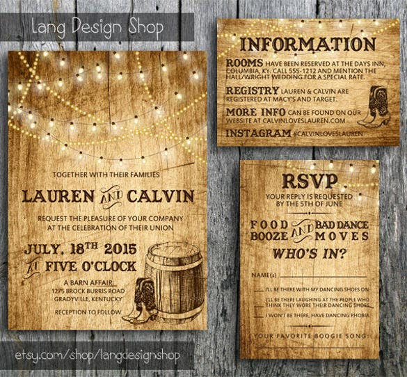 Country Wedding Invitation15 PSD Indesign Formats Download Free