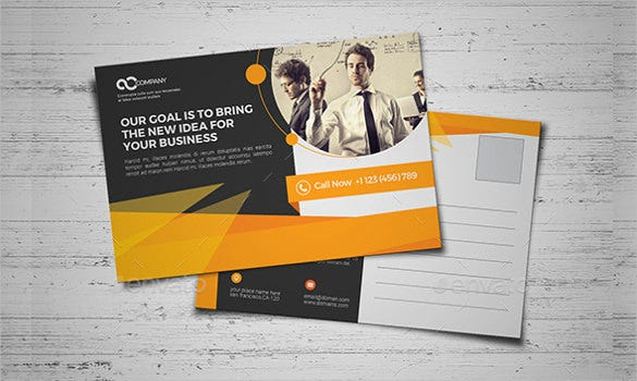 corporate business postcard yellow coloured ai illustrated