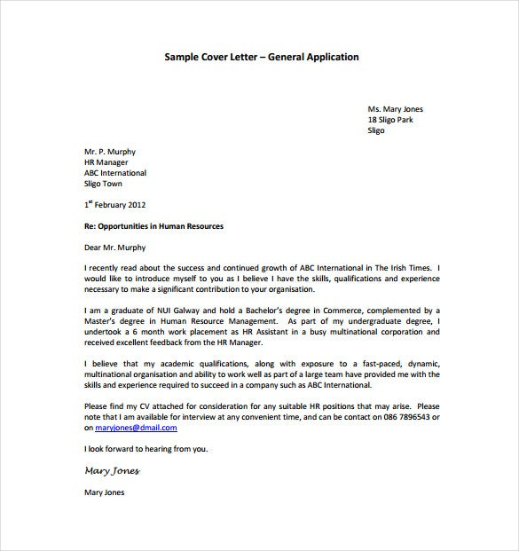General Application Cover Letter PDF Template Free Download  General Cover Letter For Resume