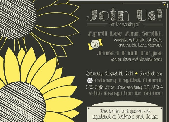 country wedding invitation on chalkboard and sunflowers