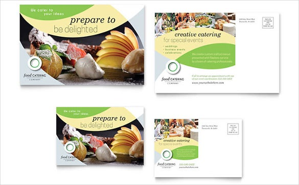 creative food catering business postcard template
