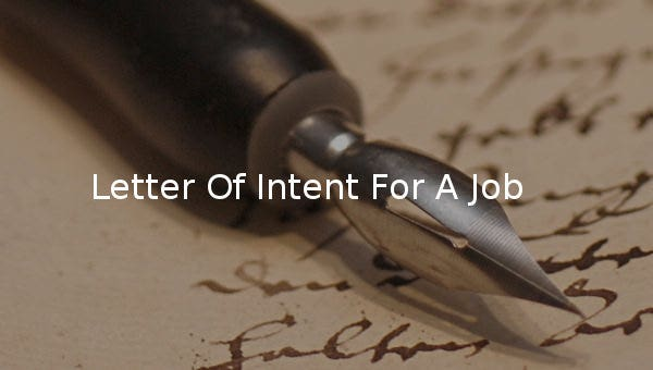 letter of intent for a jobs