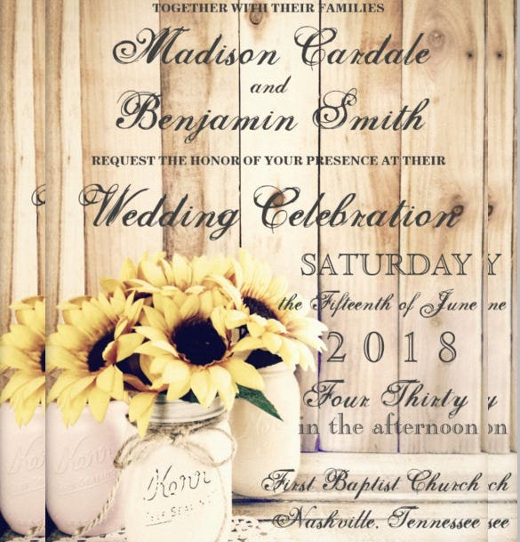 sunflowers jar country wedding invitation