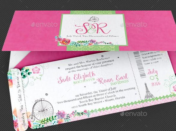 Boarding Pass Wedding Invitation: 15+ Wedding Reception Invitation Templates