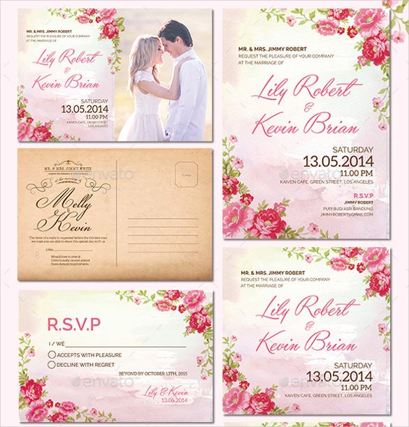 wedding invitation pack with flower style