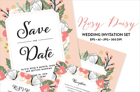 rosy wedding invitation eps jpg