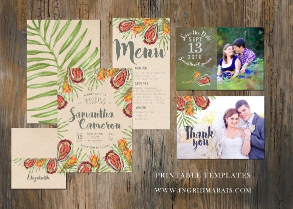 tropical protea invitation suite