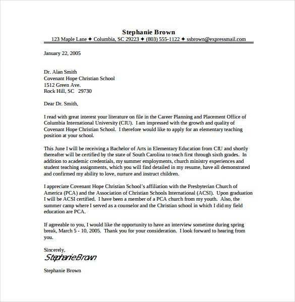 Elementary Teacher Cover Letter PDF Template Free Download  Ministry Cover Letter