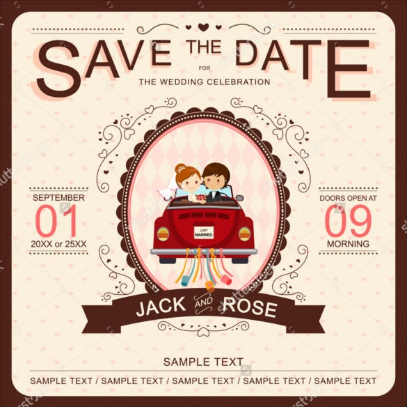20 funny wedding invitation templates free sample example format bride and groom in red car funny wedding invitation stopboris Choice Image