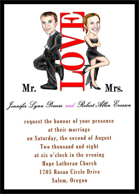 20 Funny Wedding Invitation Templates Free Sample Example Format