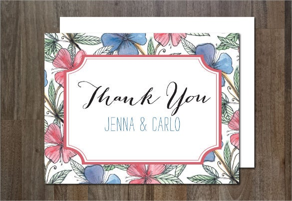 floral thank you postcard