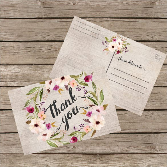 floral thank you postcard instant download