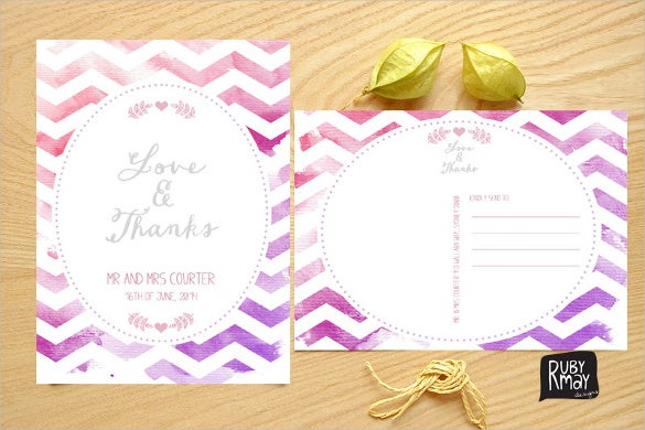 watercolour pink chevron thank you postcards