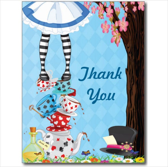 animated alice in wonderland thank you post cards