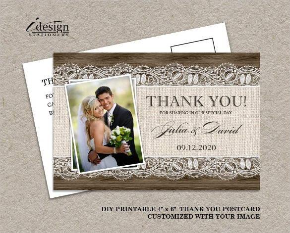 diy printable rustic wedding thank you photo card with photograph